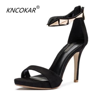 KNCOKARThe new black - style peep-toe sandals with high heels and sexy heels with a waterproof platform for stylish women's