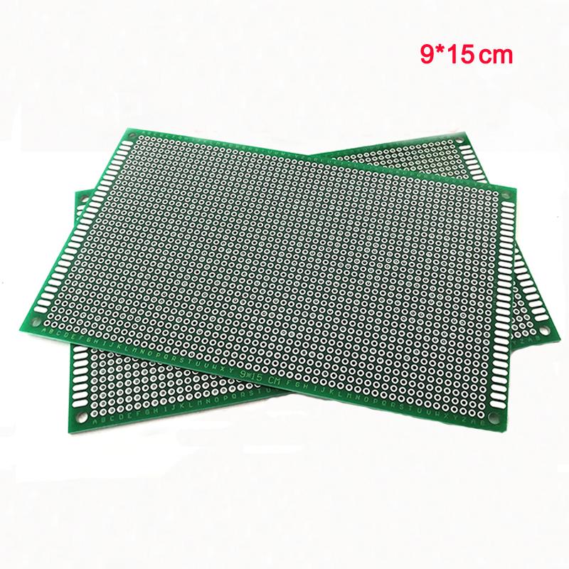 20 piezas 9x15cm placa de circuito Universal PCB de doble cara Placa de experimento FR-4 de fibra de vidrio DIY prototipo matriz verde aceite Spray Tin