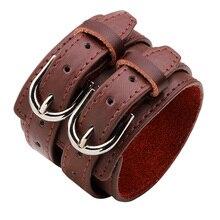 Mode 3 couleur Double ceinture en cuir poignet amitié grand large Bracelet pour hommes boucle Vintage Punk bijoux pour cadeau YWQR2300