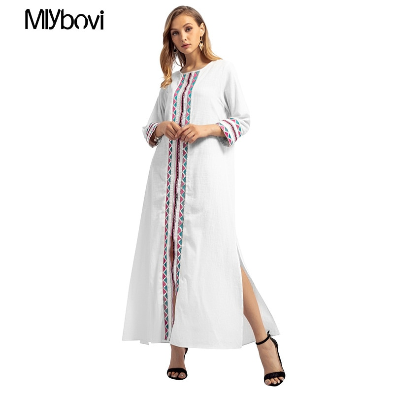 Vestido musulmán mujer blanco elegante primavera Patchwork Dubai vestido abaya Casual media manga Kaftan Maxi vestido Jubah Robe ropa
