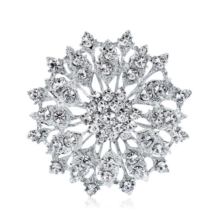 Moda europeia jóias de cristal cristal cristal broche liga luxo de swarovskis acessórios roupas segurando flores acessórios