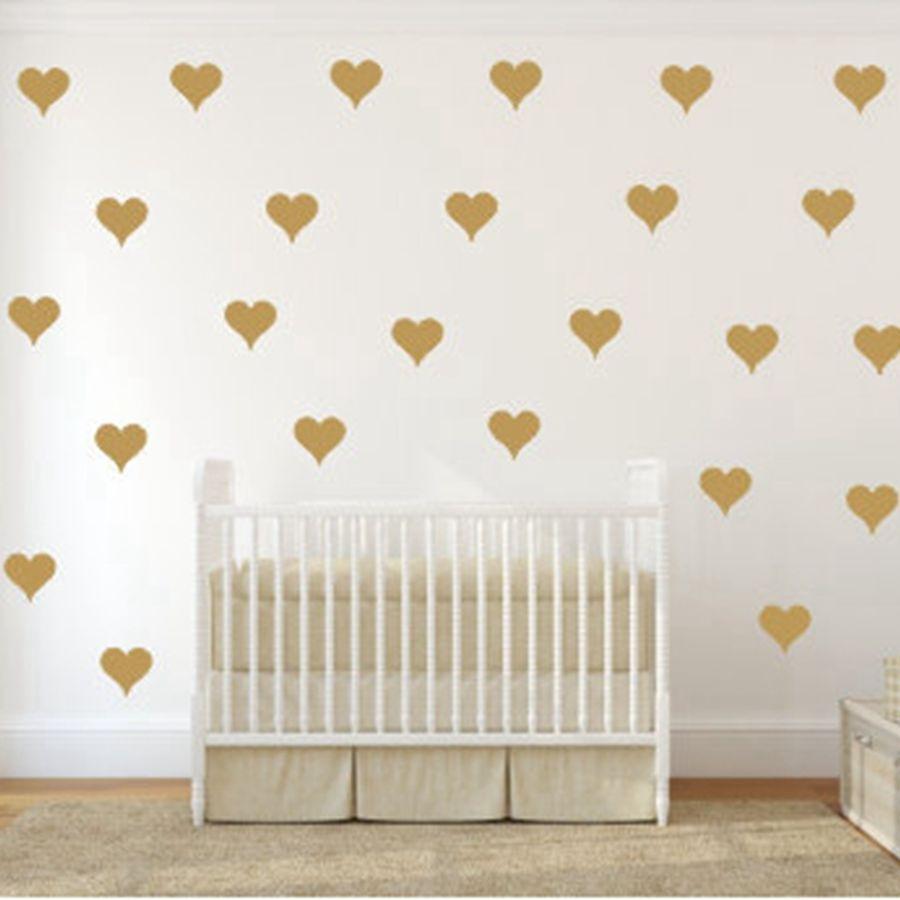 Metallic Gold Wand Aufkleber Herz-förmigen muster vinyl wand aufkleber kindergarten kunst decor Little Hearts Aufkleber