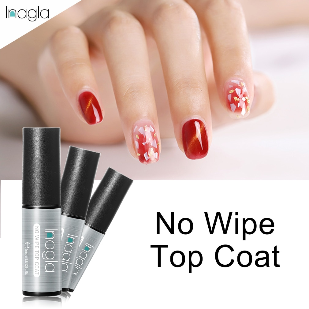 Inagla 5ml Soak Off No Wipe Top Coat esmalte de uñas de gel uv de larga duración sin capa adhesiva sin limpieza capa superior efecto brillante