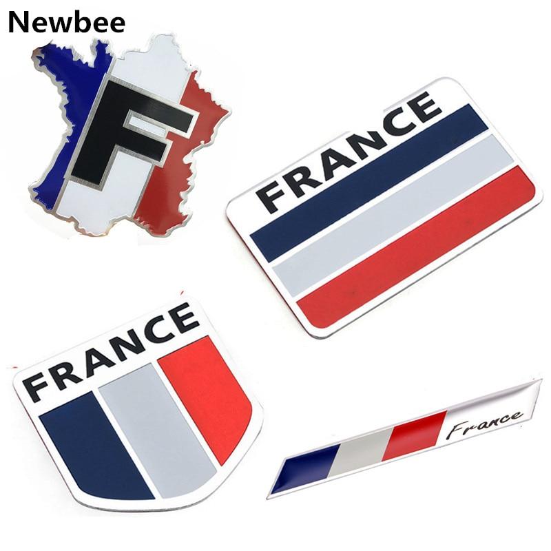Car Styling 3D Aluminum France Flag Emblem Badge Car Sticker Decals Car-Styling For Peugeot 307 206 207 Citroen Renault DS C2 C3