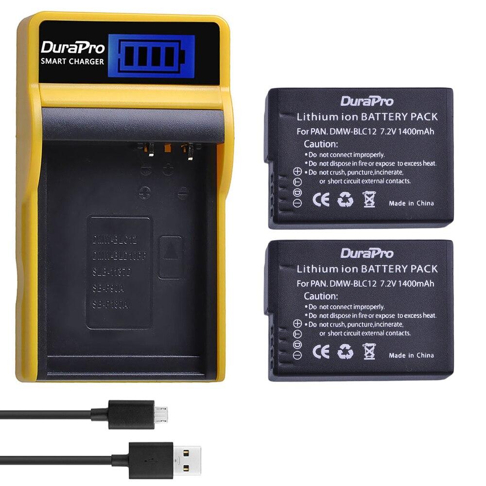 2PC 1400mAh DMW-BLC12 DMW BLC12 BLC12E Batterie + LCD USB Chargeur pour Panasonic FZ1000 FZ200 FZ300 G5 G6 G7 GH2 BLC12 Caméra