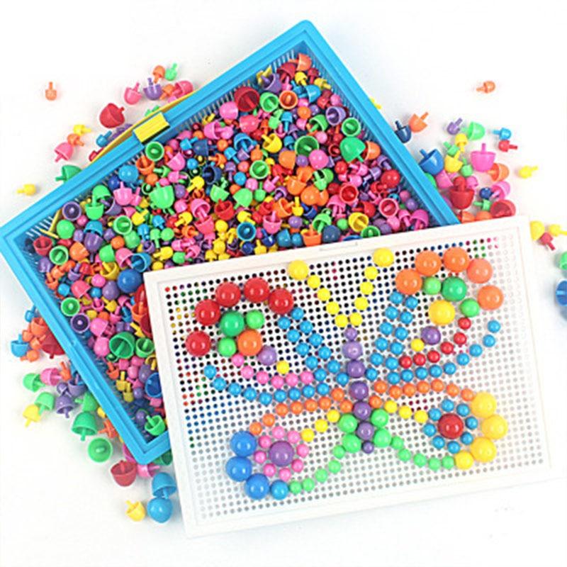 296/592 шт. Детские композитные интеллектуальные игрушки, развивающий набор грибов для ногтей, игрушки для детей, подарки «сделай сам», мозаичн...