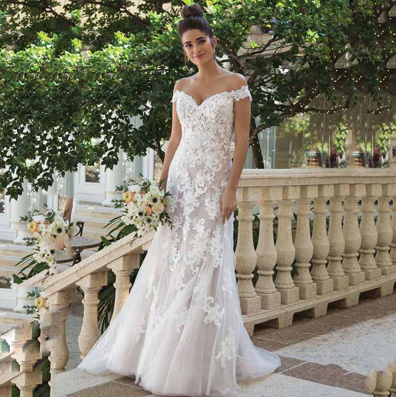 A خط فستان الزفاف قبالة الكتف الدانتيل زين فستان عروس 2021 أزرار الظهر لوري فساتين الزفاف فيستدو دي نوفيا