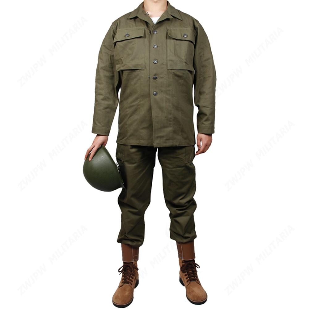 WW2 US Army Green HBT UNIFORM PURE COTTON OUTDOOR UNIFORM(No helmet, no shoes)