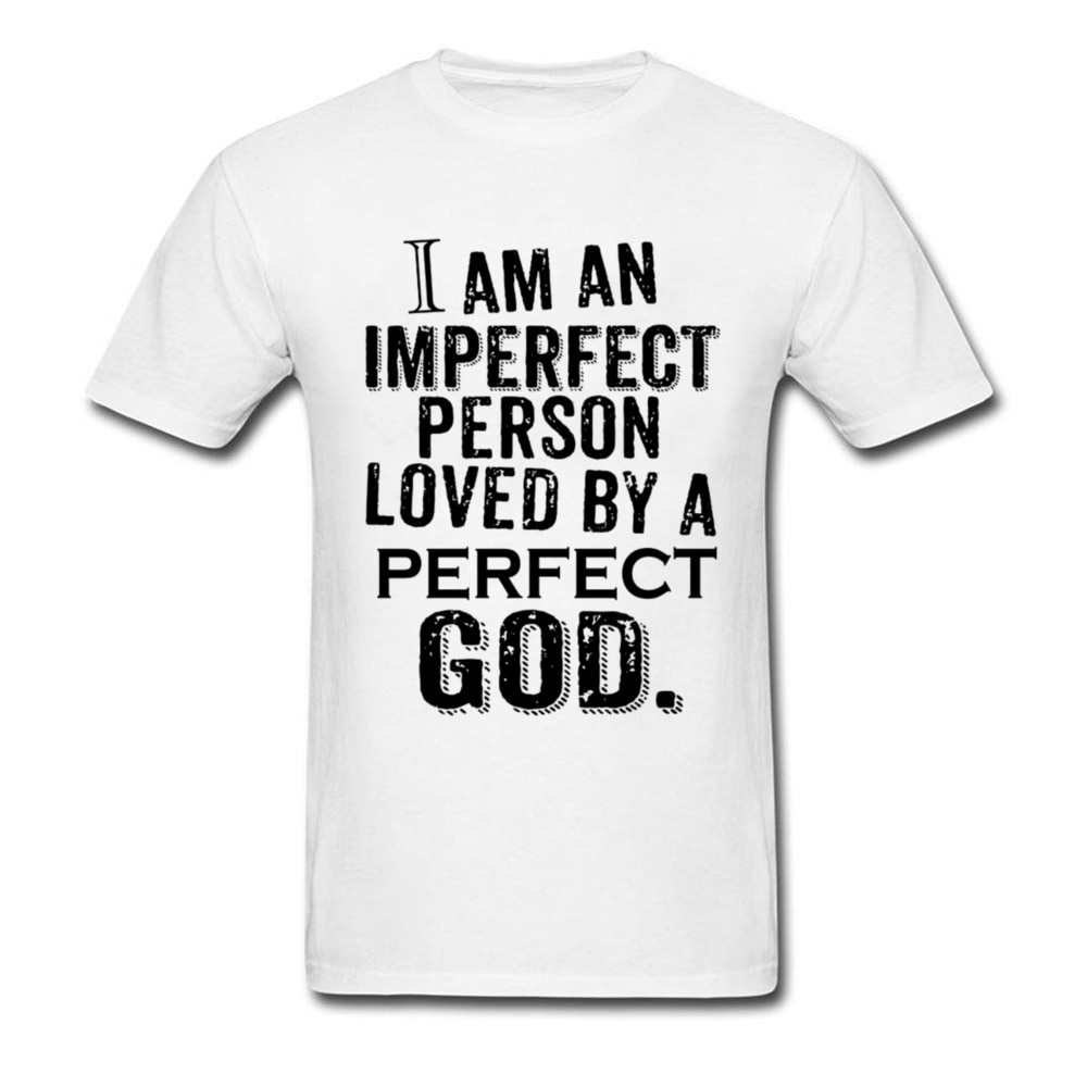 Imperfect Person Perfect Love T-shirt Men God camiseta cristiana Jesus Tops carta Tees Vintage ropa blanca
