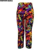 toivotuksia women elastic capri printed pants high waist plus size mid calf stretch casual leggings