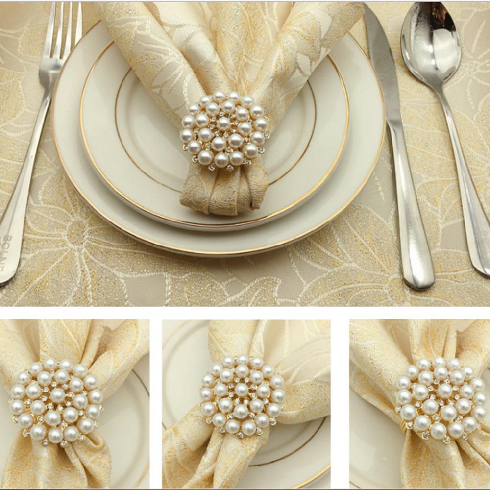 12pcs SHSEJA Luxurious Napkin Hotel Wedding Supplies Napkin Ring Gold Plated Diamond Pearl Napkin Buckle Desktop Decoration