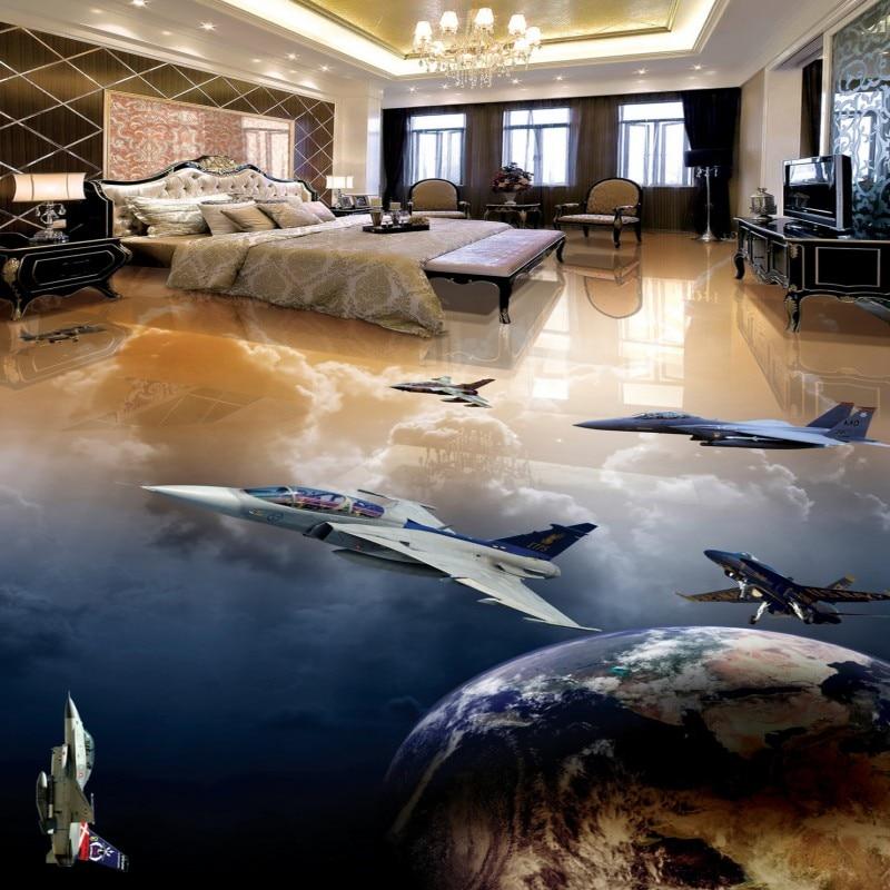 Envío Gratis piso etiqueta luchador planeta papel de pared de la tierra pasarela de restaurante antideslizante auto-adhesivo mural para piso
