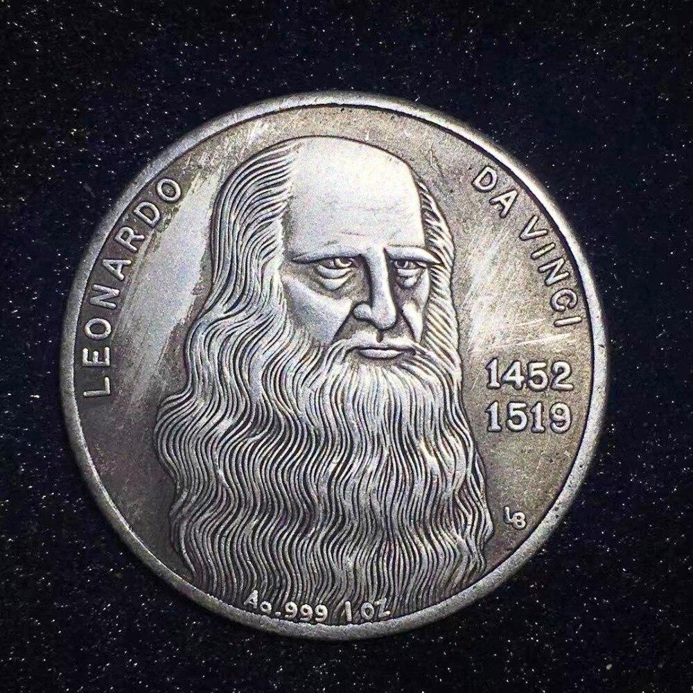 Moneda conmemorativa Vinci, moneda antigua hecha a mano de imitación, Colección Maja Desnuda, copia de monedas elvis Ucrania, colección de monedas
