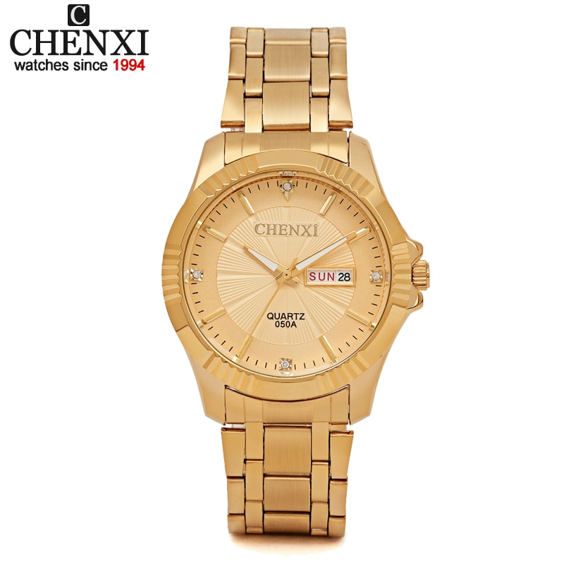 CHENXI-ساعات رجالية ونسائية ، كوارتز ، ستانلس ستيل ، ذهبي ، هدية عمل ، ساعة يد