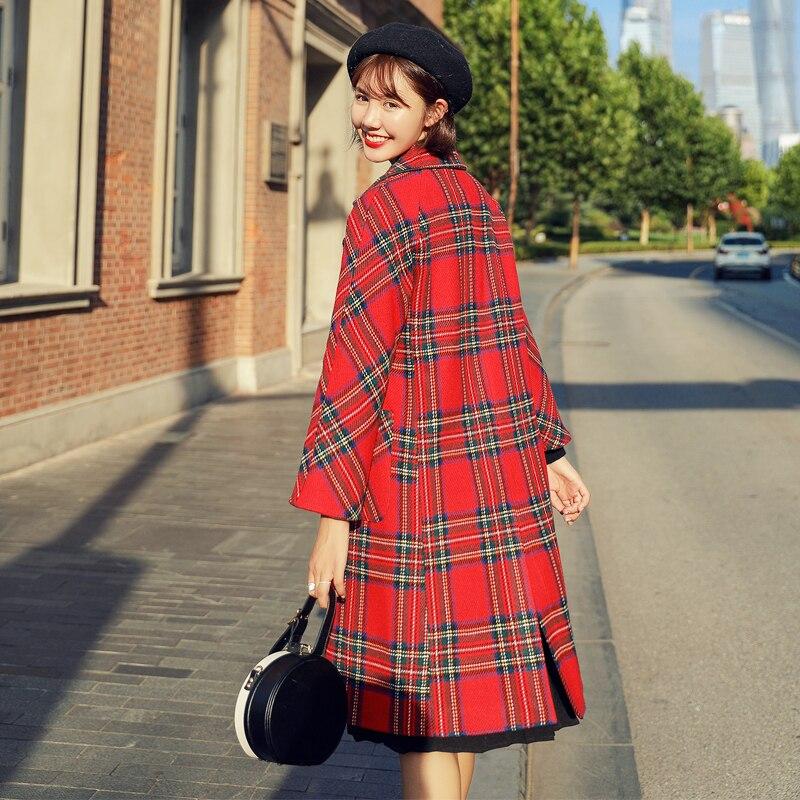 Abrigo de invierno con celosía para Mujer, Abrigo de mezclas de lana,...
