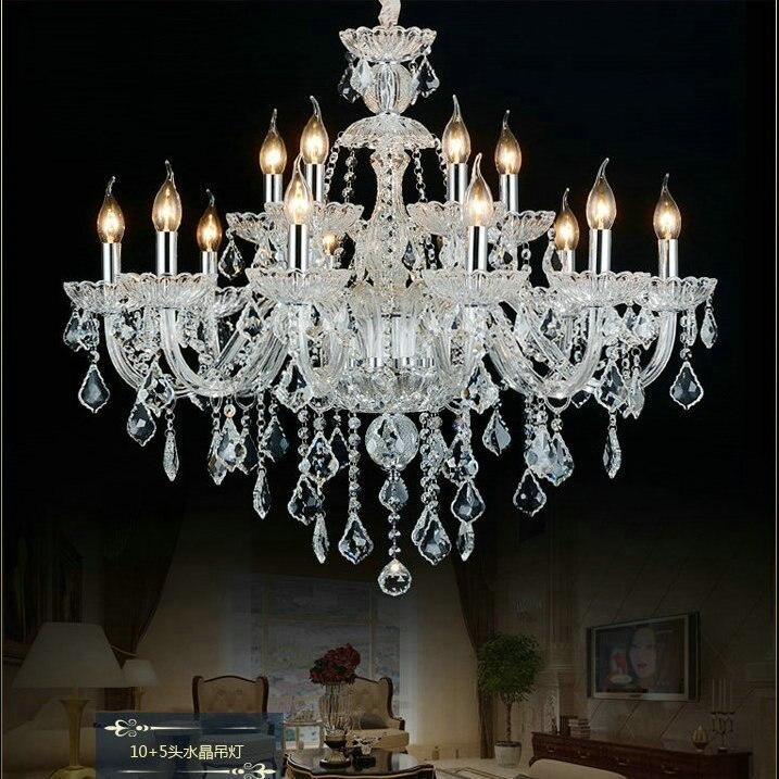 Decoración casera con candelabro de cristal transparente lustres de lámparas de cristal...
