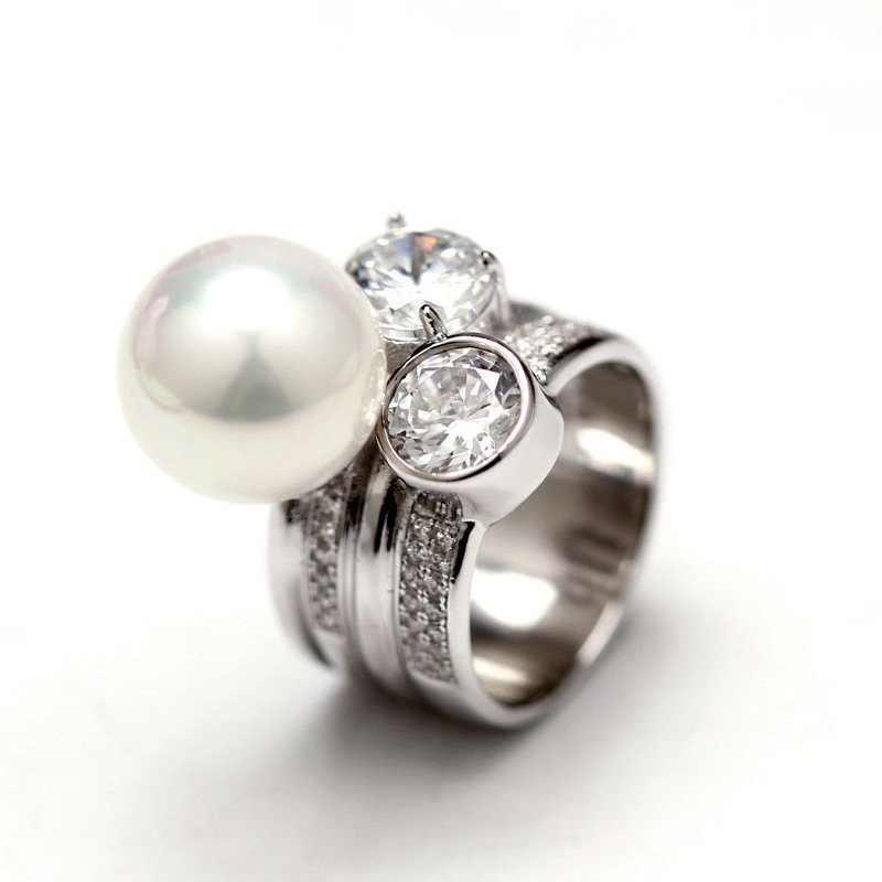 Anillos de perlas de agua dulce de tamaño Real de 10-11mm de ASHIQI, joyería de plata de ley 925 con anillos de boda con cristal