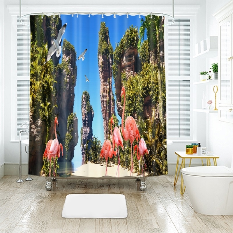 Flamingo 3D printing Pattern Modern Polyester Waterproof Mildew Shower Home Decoration Curtain Bathroom Curtain
