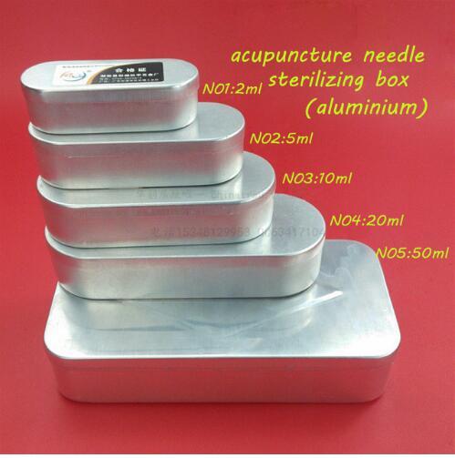 Caja esterilizadora de agujas médicas de acupuntura de 1 juego/5 tamaños/5 uds. Caja de aluminio de 2/5/10/20/50 ML