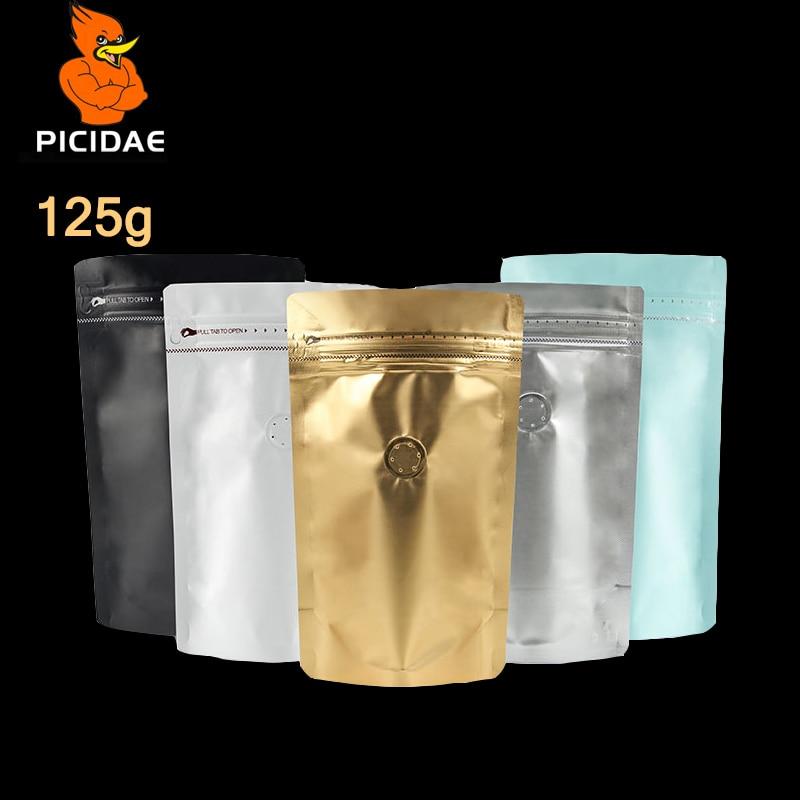 1/4 lb de condimento de azufaifa de bocadillo 125g de té bolsa de embalaje de alimentos de pie aluminizado de amplia base cremallera ziplock válvula