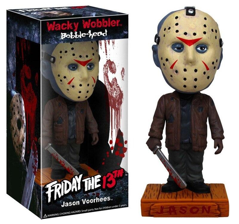 [Смешные] 18 см оригинальная коробка пятница 13 Джейсон Wacky Wobbler Bobble Head ПВХ фигурка коллекционная игрушка кукла модель детский подарок