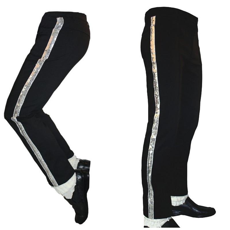 MJ Michael Jackson Black Entertainers Straight Silver trousers pants for fans Billie Jean Performance