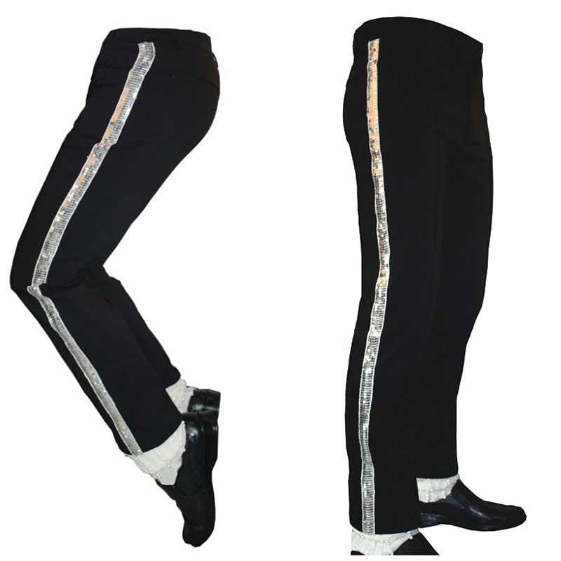 MJ Michael Jackson artistas negros recto pantalones plateados pantalones para los fans de Billie Jean rendimiento