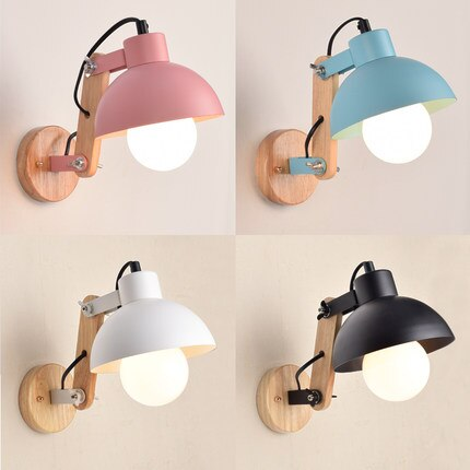 IWHD madera Wandlamp LED lámpara de pared moderna ángulo de moda ajustable hierro Sconce creatina restaurante Arandela accesorios de iluminación del hogar