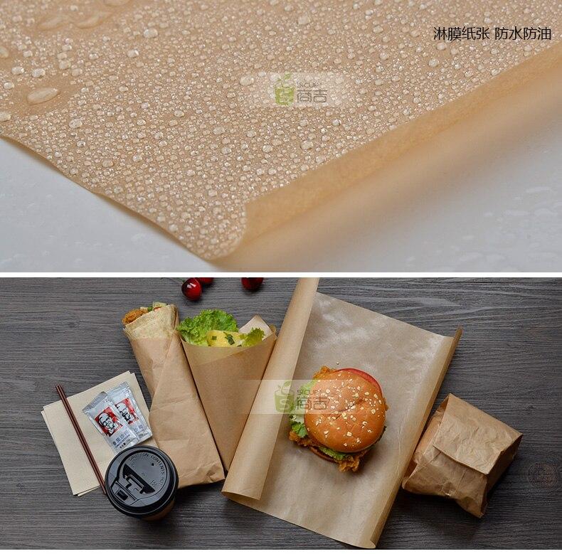 50 unids/lote 39*54cm panadería marrón PE papel Kraft a prueba de grasa embalaje pan galletas de chocolate a prueba de aceite Paquete de fiesta Craft Paper