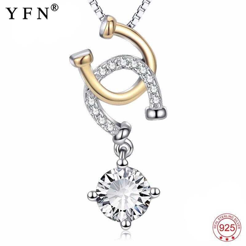 YFN 925 argent Sterling cheval sabot collier zircon cubique fer à cheval Double U pendentifs colliers bijoux de mode cadeaux de noël