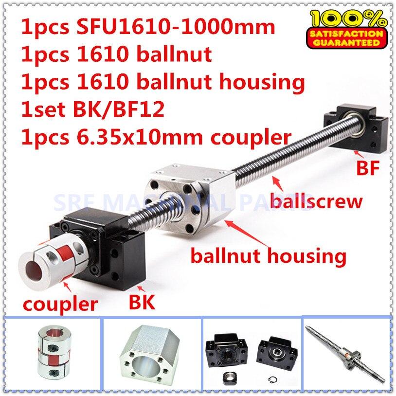 Ballscrew rolou 1610 conjuntos 1 pcs L = 1000mm com ballnut + 1 pcs SFU1610 ballnut habitação + 1 conjunto de BK/apoio final BF12 + 1 pcs acoplador do eixo