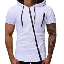 MISSKY 2019 New Men Summer t shirt Stylish Cool Diagonal Zipper Short Sleeve Hooded T Shirt Male Clothes