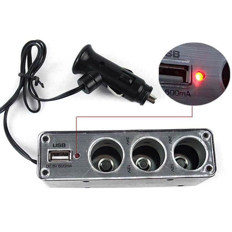 Divisor de encendedor de cigarrillos multienchufe de 3 vías, cargador de enchufe USB cc 12V/24V, adaptador Triple con puerto USB M8617