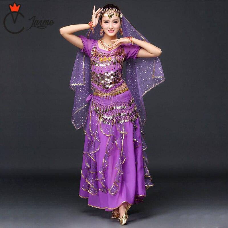2018 النساء ملابس رقص ملابس رقص الشرقي ساري مجموعة 4 قطعة بوليوود الهندي أزياء رقص الهندي تنورة تتسابق