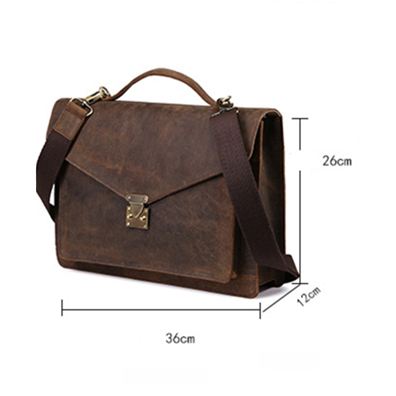 2018 New Men Genuine Leather Crazy Horse Messenger Bag Handbags Vintage Briefcase Bags Shoulder Diagonal Business Soft Versatile