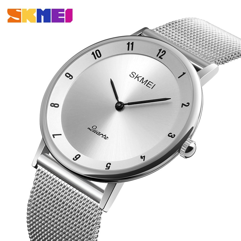 Marca de Luxo Esporte à Prova Skmei Masculino Relógios Quartzo Ultra Fino Aço Inoxidável Relógio Dwaterproof Água Casual 1264