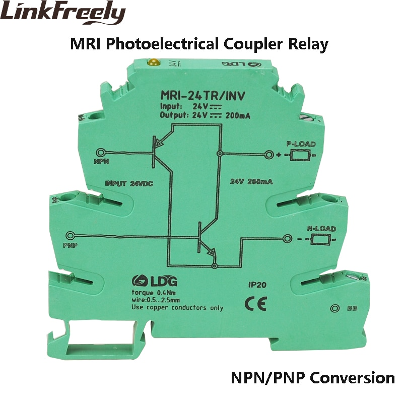 MRI-24TR/pcs NPN PNP Inversão INV 10 Opticalcoupler Interface de Módulo de Relé Indicador LED PLC Relé de Isolamento
