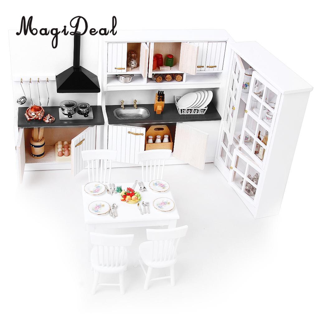 Горячая Распродажа 1/12 кукольный домик современная мебель кухонный шкаф настольный набор и серебристый металлический винный набор украшения Аксессуары
