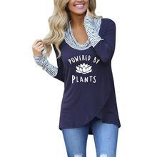 Nueva Camiseta de cuello alto a rayas a la moda para mujer Camiseta con estampado de letras veganas para mujer camisetas divertidas de verano talla grande de algodón