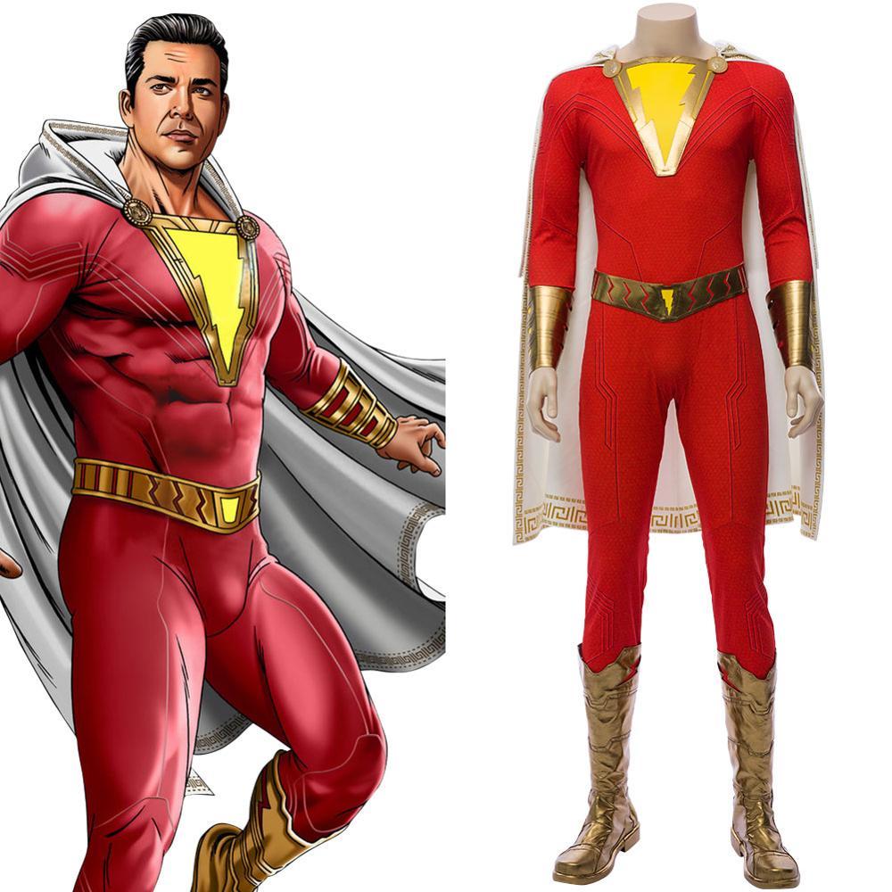 Billy Batson Shazam Cosplay Capitão Marvel Cosplay LED Light-up Jumpsuit Outfit Homens Adultos do Dia Das Bruxas Fantasias de Carnaval