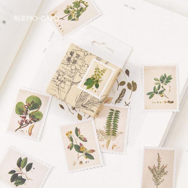 45 unids/caja pegatinas planta pegatinas de viñetas para diario de teléfonos álbumes Scrapbook diario Corea papelería