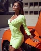 2019 new women green v neck long sleeve dresses vestidos celebrity evening party bodycon bandage dresses