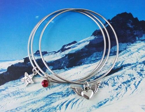 30PCS Heart Star Charm Triple Bangle Bracelet #20350