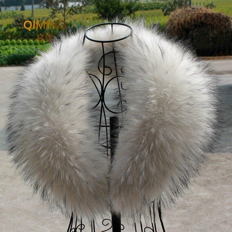 Natural Cuello de piel de mapache bufanda de cuello de piel para Hood 100% Real Collar de piel bufandas de bufanda de invierno de piel caliente Pashmina