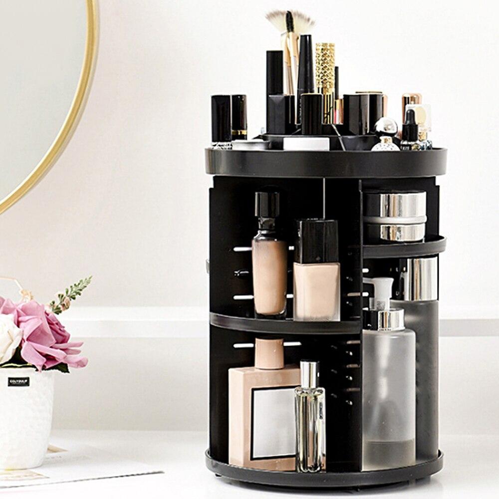 Organizador de maquillaje giratorio de 360 grados, caja de almacenamiento de cosméticos multifunción ajustable, 1 Uds., organizador de joyería