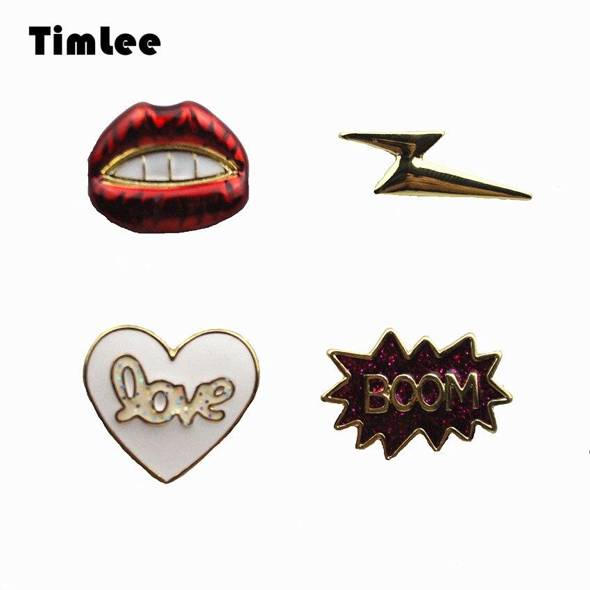 Timlee X239 Bonito Sexy Red lip Pinos relâmpago Coração Carta Projeto Broche de Metal Pinos de Presente Por Atacado