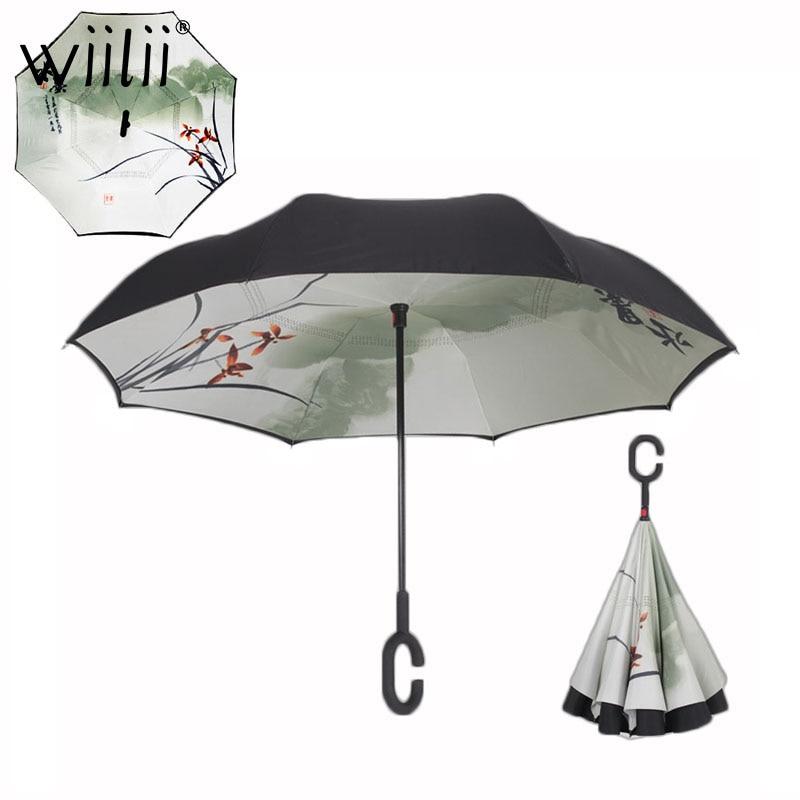 Klapp Reverse Regenschirm Doppel Schicht Regen Regenschirme Für Frauen Multifunktions Kostenloser tragbare C Griff Invertiert Winddicht Regenschirm