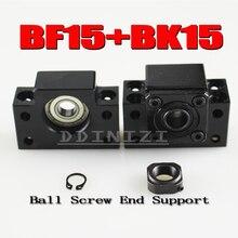 NOVO suporte 1 pcs SFU2005 ballscrew BK15 e 1 pcs BF15 para parafuso 20mm 2005 SFU2004 SFU2010 ballscrew final apoio