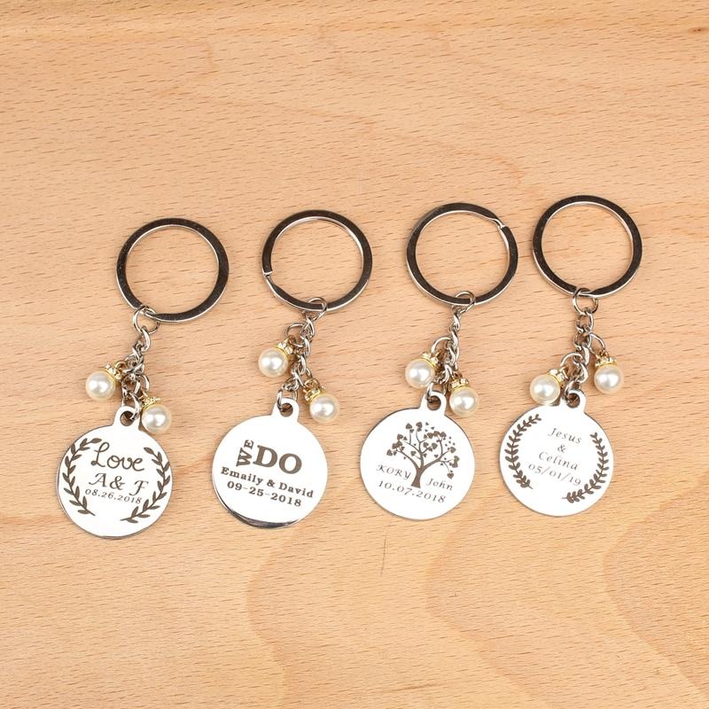 10 pcs Personalizados nome data logotipo keychain Nupcial do casamento Brindes Para Os Convidados Do Chuveiro do favor do casamento e presentes para os hóspedes