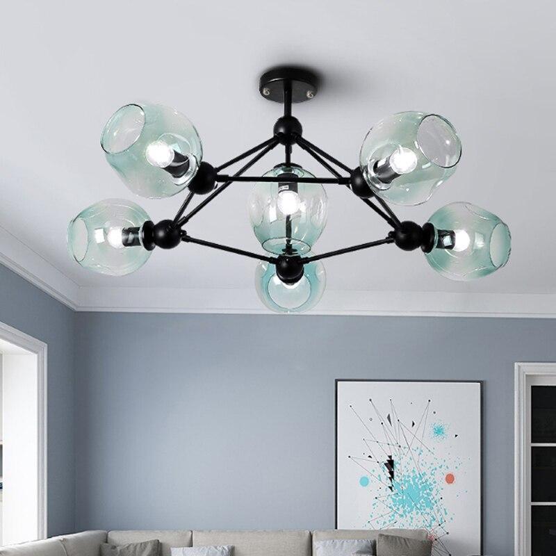 Nordic simple living room molecular E27 LED bulb pendant lamp DIY home deco gradient blue glass pendant lighting fixture